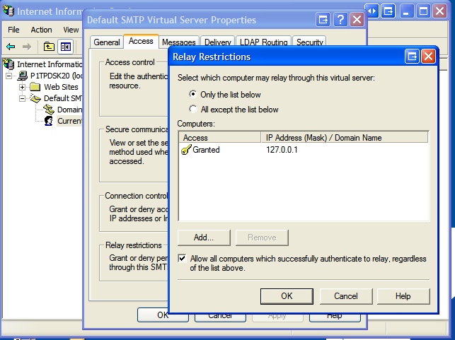 What You Need To Do Is Change The Security Settings On SMTP Service Allow Your Relay From Local Machine This Simply Done In IIS Admin As