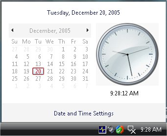 Windows Vista Calendar/Clock Applet