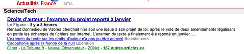 Copie d'écran de Google News