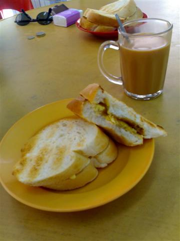 Kaya toast and teh
