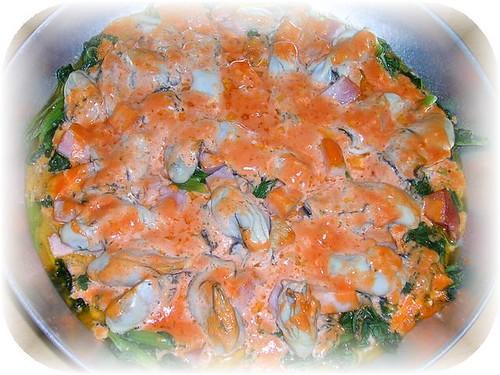 牡蠣とホウレンソウのオーロラソース焼2