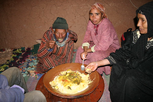 Lovely couscous dinner with the berber family, Achehoud, Morocco.