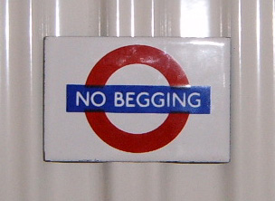 No Begging London Underground Fridge Magnet