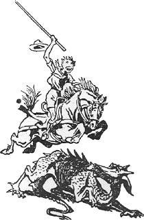 Skt. J�rgens som spejder tegnet af Baden-Powell