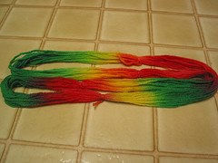 Food coloring dyed wool