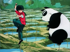 Ranma y Genma Saotome entrenando en China