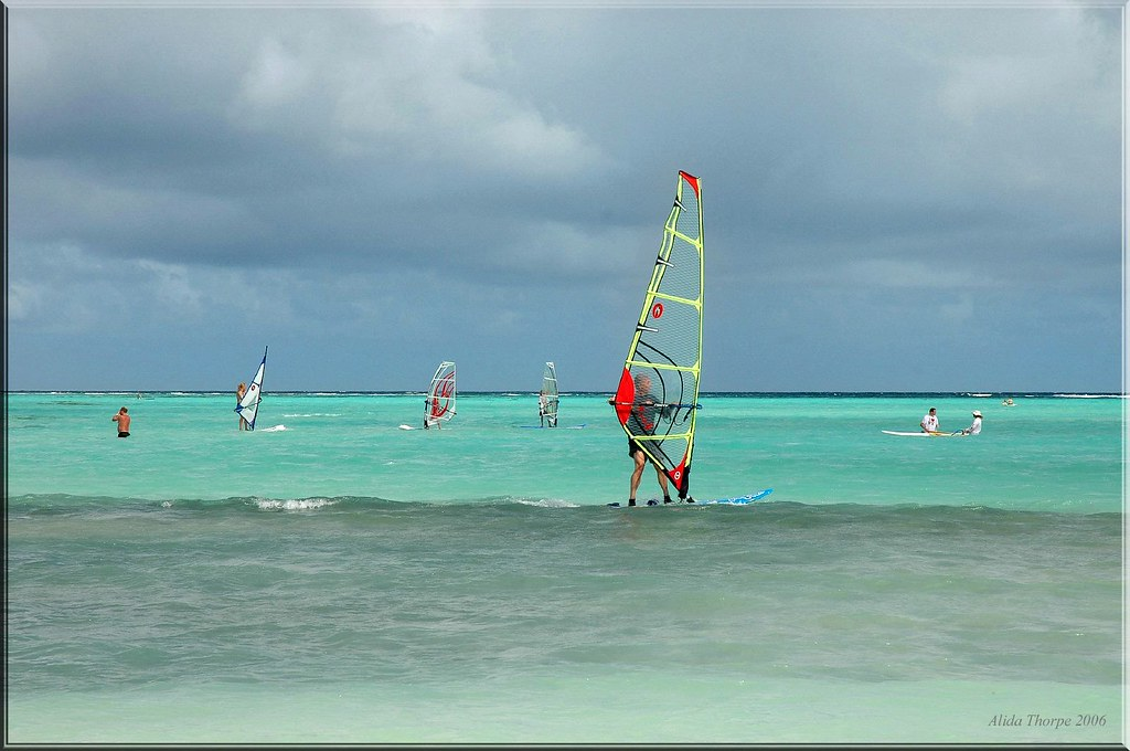 Wind Surfing in Bonaire's Loc Bay