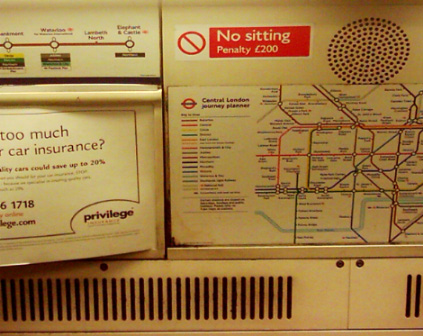 No Sitting London Underground Sign