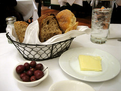 bread, butter, and olives