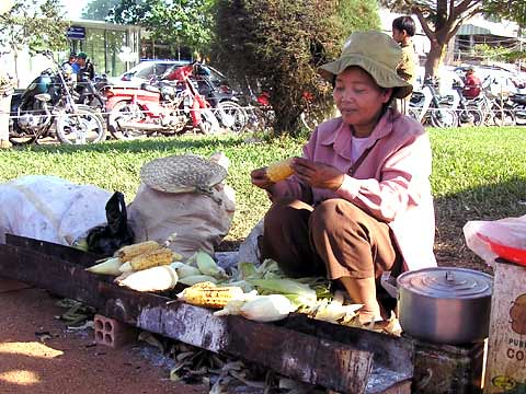 Cambodian Corn Vendor