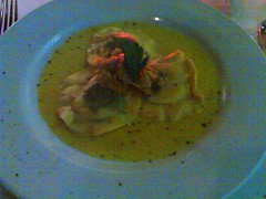 Sea-Scallop and Black Truffle Ravioli with Leeks and Saffron Sauce