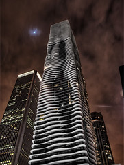 Chicago Aqua Building (hdr at night) photo by Mister Joe