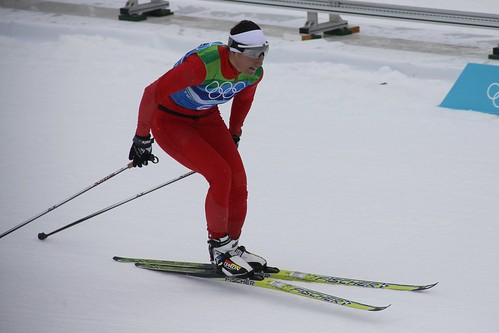 Sylwia Jaskowiec of Poland finishes the final leg of the ladies' 4x5 KM cross-country skiing relay
