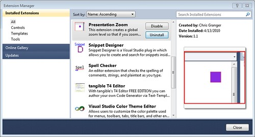 Visual Studio 2010 - Presentation Zoom