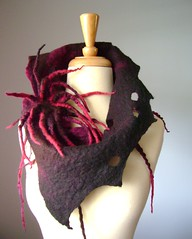 Hand felted wool neckwarmer Pin INSANITY / OOAK photo by VitalTemptation , Etsy