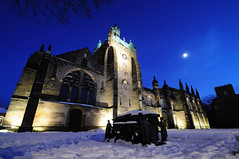 King's College chapel in the moonlight, Old Aberdeen, Scotland photo by iancowe