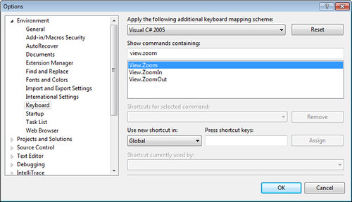 Visual Studio 2010 - Zoom Commands