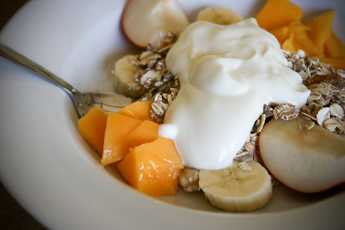 Fruit, yogurt and muesli