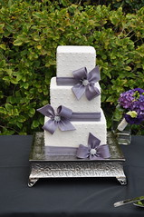 White & Purple Wedding Cake photo by Designer Cakes By April