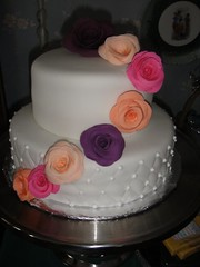 Birthday Cake with gum paste flowers photo by Cakes by Kali