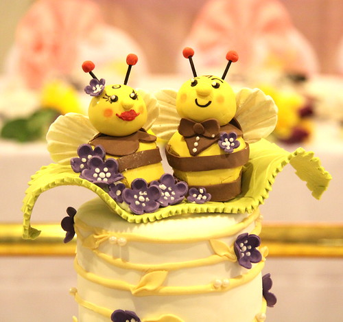 "Wedding - Purple yellow bee theme cake ""meant to bee"""