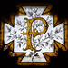 Stained glass P with branch of laurel leaves