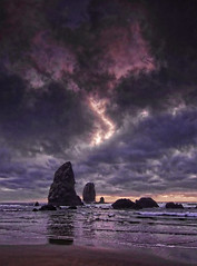 Cannon Beach, Dark Clouds Sunset, Oregon Coast photo by Don Briggs