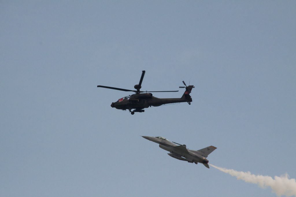 RSAF F-16 and AH-64 Apache Low-Speed Fly-By