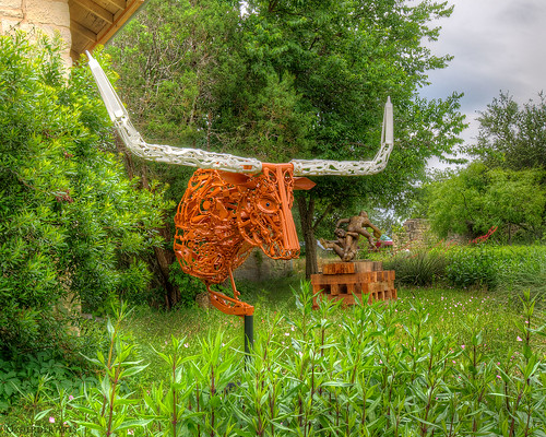 Longhorn & Football Sculpture