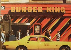 1970s NYC vintage BURGER KING Yellow Taxi Cab NEW YORK CITY 5th Avenue photo by Christian Montone