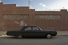 Big Vintage car on a street in Long Island City, Queens, New York photo by jackie weisberg