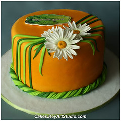"""The Grass is Green. The Daisies are White"" Cake photo by Cakes.KeyArtStudio.com"