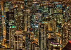 A different view: Aerial Chicago loop night from the Hancock, hdr photo by Mister Joe