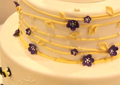 Wedding - Purple yellow bee theme cake