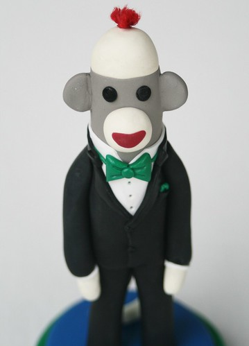 groom close up Groom in a Tux Sock Monkey Wedding Cake Topper photo by SpiritMama