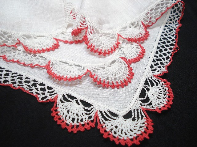 Irish Linen Ladies Handkerchief with Crochet Lace Corner - Gift