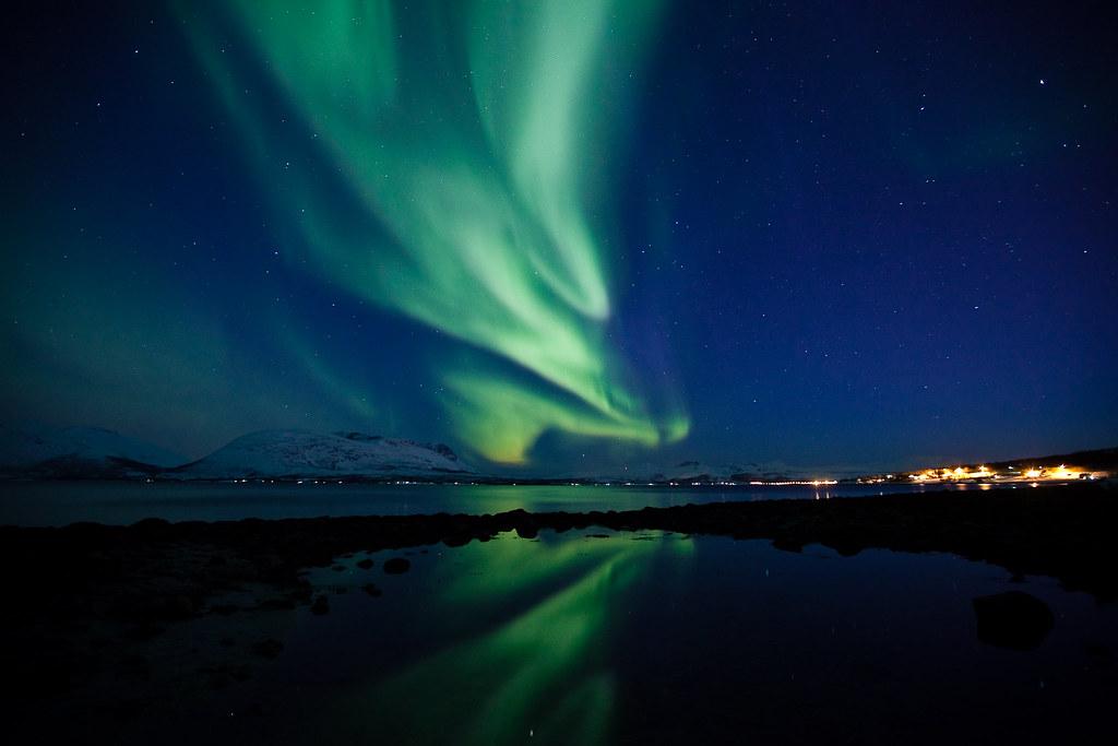 Nordlys over Berg i Tromsø photo by Tor Even Mathisen