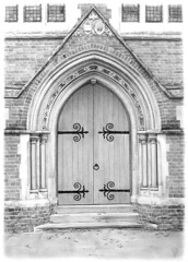 pencil drawing of church door photo by Balloonfactory