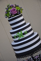 Super Fun Stripes Wedding Cake photo by Designer Cakes By April