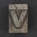 Caslon metal type letter v