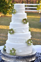 White & Green Wedding Cake photo by Designer Cakes By April