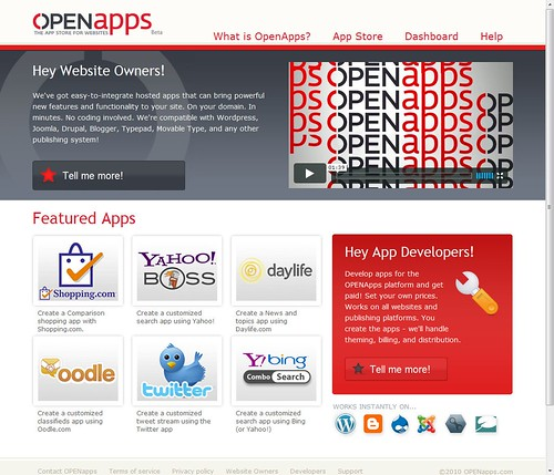 OpenApps home screen