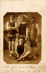 Four men in vintage swimwear, circa 1910 photo by boobob92