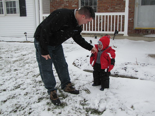 Jonathan's first experience in the snow!