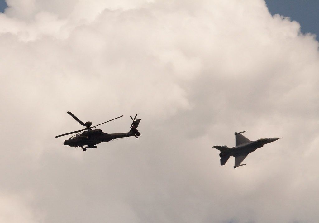 RSAF F-16 and AH-64 Apache High-Speed Fly-By