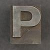 Caslon metal type letter P