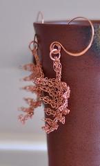Earrings - OOAK crocheted pure copper stylized modern fern leaves photo by eveldasneverland