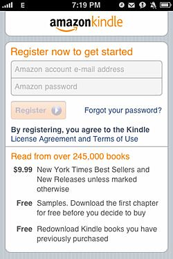 kindle registration screen