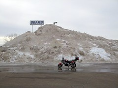 SV650 and giant snowbank to top of lightpost