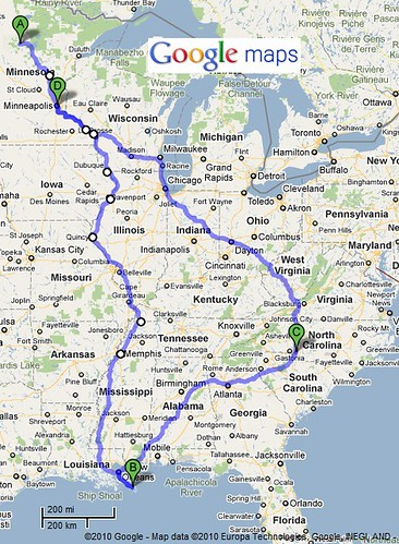 Google Map of Route - Great River Ride